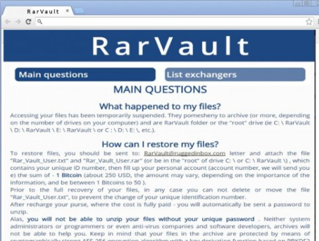 RarVault Ransomware Infection