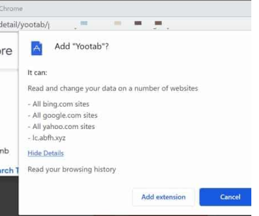 Yootab browser hijacker